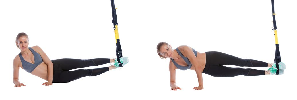 TRX side plank with arm assist