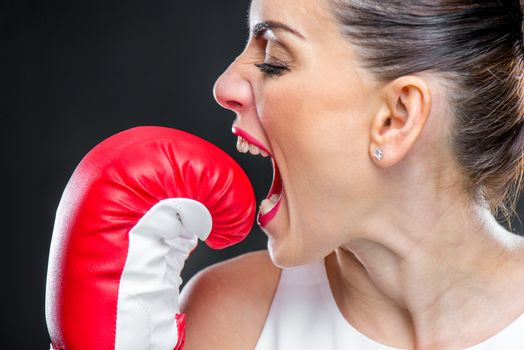 Woman in boxing glove