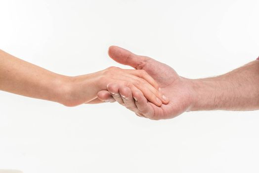 Male hand holding female hand
