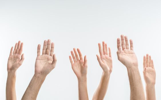 Partial view of people raising hands on white