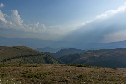 Mountain landscape at Central Balkan mountain, pass Beklemeto, Stara Planiana