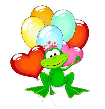 Cartoon funny green frog with balloons on a white background. Little green frog.