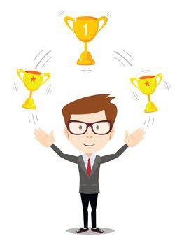 businessman juggling with gold trophy goblet