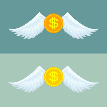 Gold coin with wings.