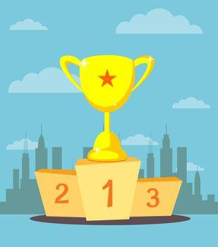 trophy cup, prize goblet on sport winner podium