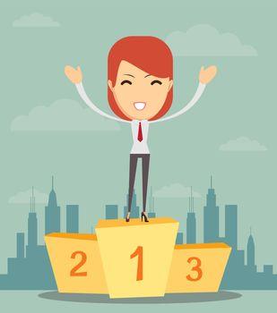 Businesswoman stands on pedestal