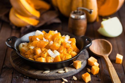roasted pumpkin and onion, vegetable garnish