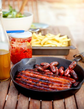 Tasty fried sausages
