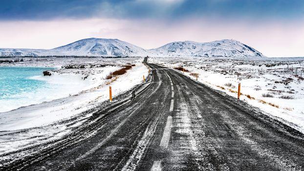 Iceland snowy landscape