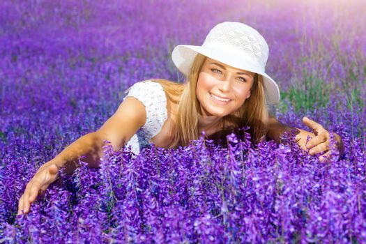 Enjoying flower field