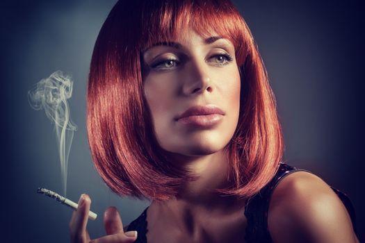 Gorgeous woman smoking