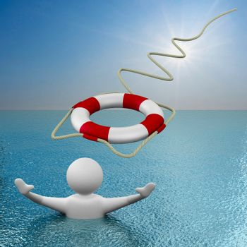 Rolling in lifebuoy. 3D image