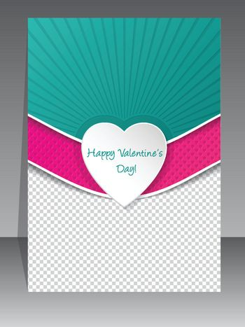 Valentine day greeting card with hearts and photo container