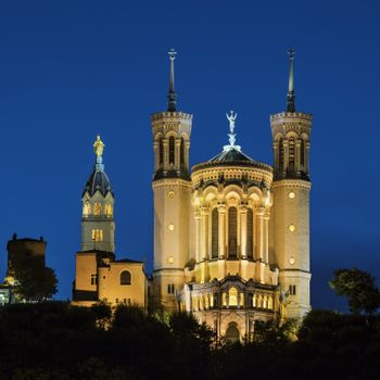 Basilica Notre Dame de fourviere in Lyon, France at night