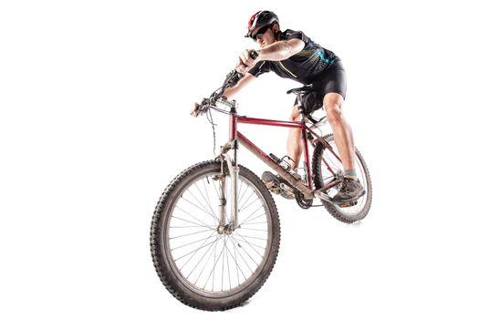 Bicyclist on a dirty bike