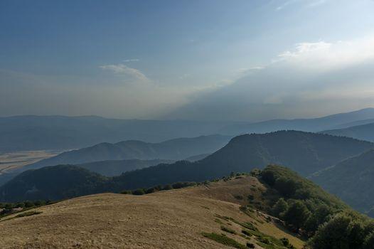 Mountain landscape at Central Balkan mountain, Beklemeto or Trojan pass