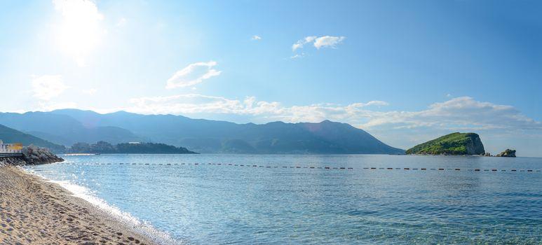 Famous Island of Sveti Nikola in Budva. Montenegro, Adriatic sea, Europe.