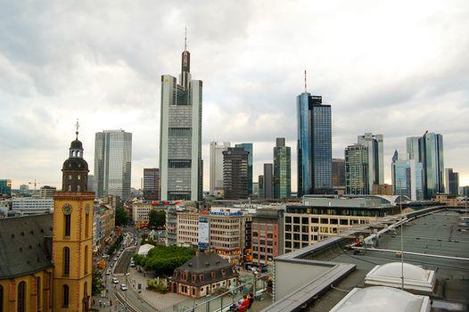 FRANKFURT, GERMANY - September 01, 2008: Frankfurt Skyline under Dramatic Sky. Frankfurt am Main, Germany, Europe.