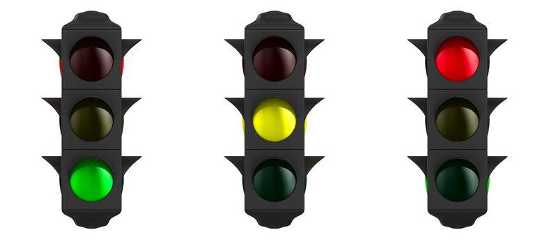 traffic light on white background. Isolated 3D image