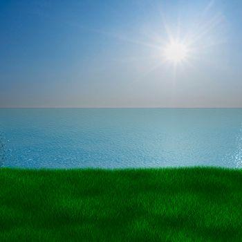 Sea landscape. 3D image
