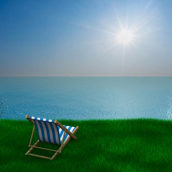 Vacation on the seashore. 3D image