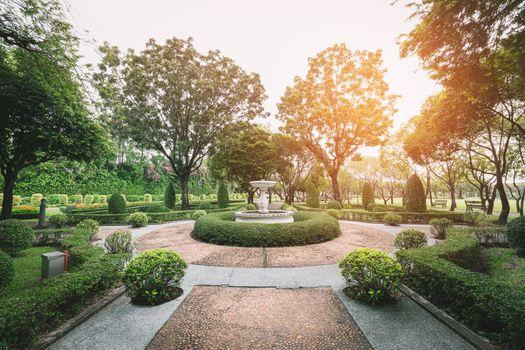Roundabout garden with brightlight