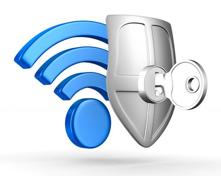 Sign wi-fi on white background. Isolated 3D image