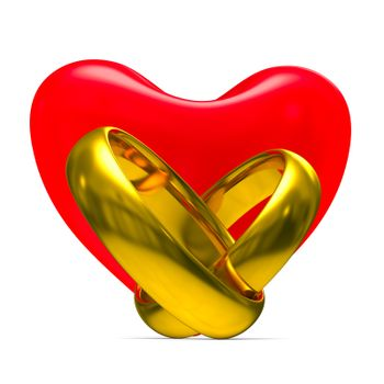 Heart and wedding rings on white background. Isolated 3D image
