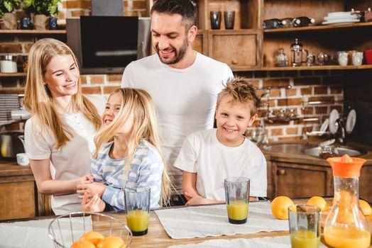 Family has orange juice
