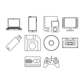 collection of technology icon vector
