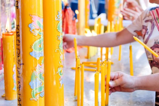 Spiritual candle in temple for meditation