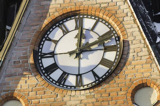 Clock on Church Building close up.