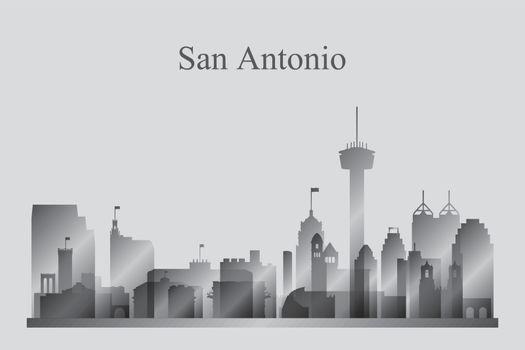 San Antonio city skyline silhouette in grayscale