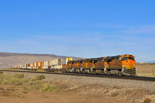 freight train loaded with containers