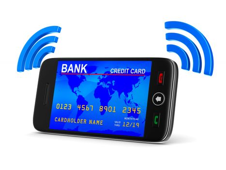 phone and credit card on white background. Isolated 3D image
