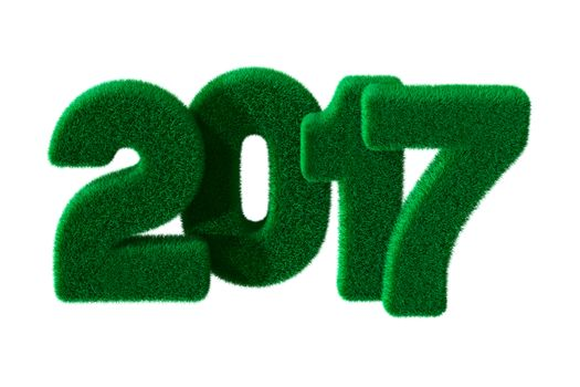 2017 year from grass. Isolated 3D image