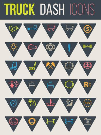 Colorful icon set of thirty for truck dashboards 6