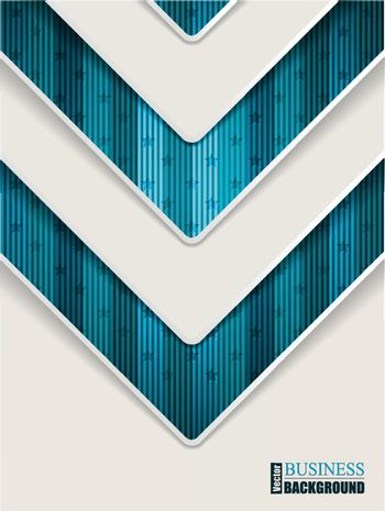 Abstract turquoise brochure design with stripes stars  and arrow shape