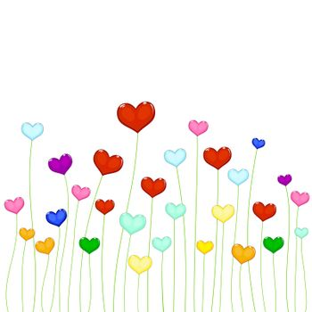 Beautiful color hearts. A set of colorful hearts on a white background.