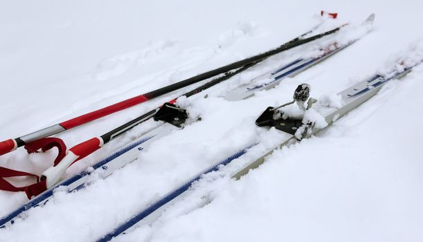 Skis and ski poles in the snow.