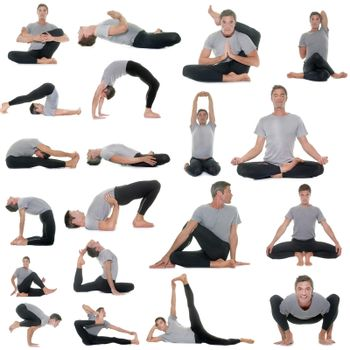 postures of yoga in front of white background