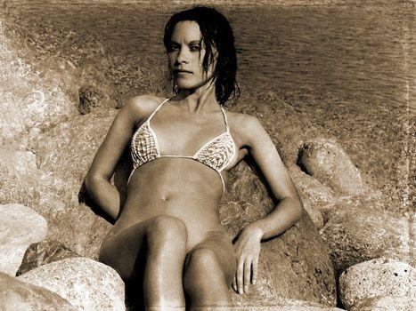 retro photo of girl on the beach