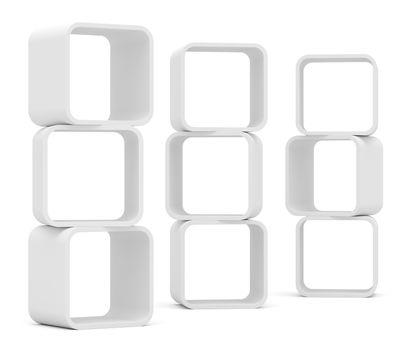 Empty white rounded showcase. Isolated