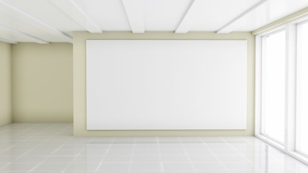Blank White Billboard in Showroom