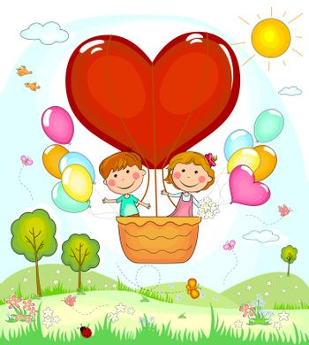 Boy and girl on the fly in a balloon.