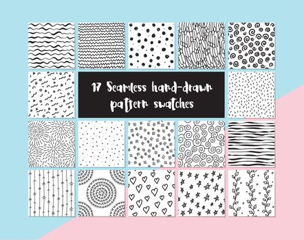 17 seamless hand-drawn pattern swatches, vector set
