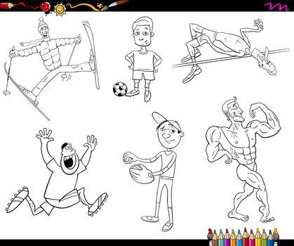 sportsmen cartoon coloring page