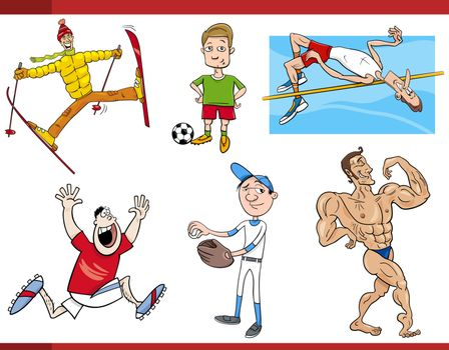 sportsmen cartoon set