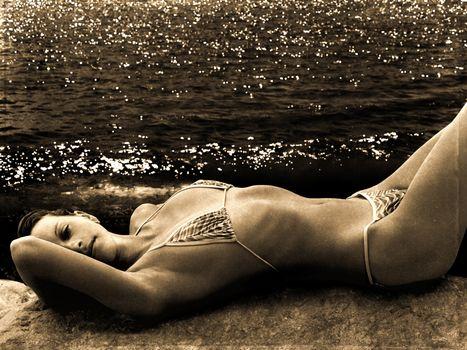 retro photo of woman on the beach