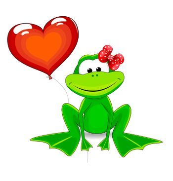 Frog and a balloon in the shape of a heart.
